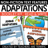 Animal Adaptations Non-Fiction Text Features Booklet