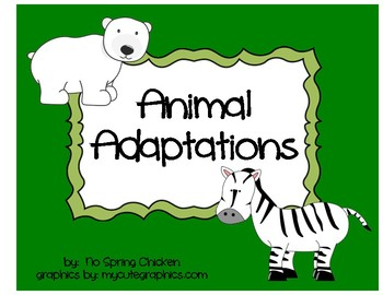 Animal Adaptations - Cut and Paste Chart, Camouflage Activity, & Quiz