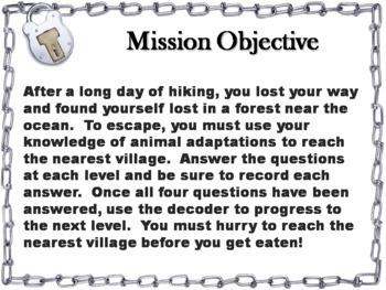 Animal Adaptations Activity: Escape Room - Science