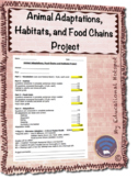 Animal Adaptations Food Chains and Habitats Project