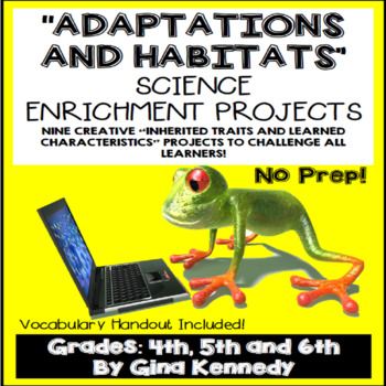 Animal Adaptations  Projects, Vocabulary Handout