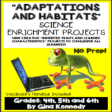 Animal Adaptations Projects, and Habitats, Vocabulary Handout Included