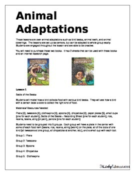 Animal Adaptations Hands-on Lessons