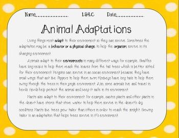 Animal Adaptations LS4.C
