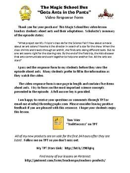 "Animal Adaptations Magic School Bus ""Gets Ants in the Pants"" Video Worksheet"