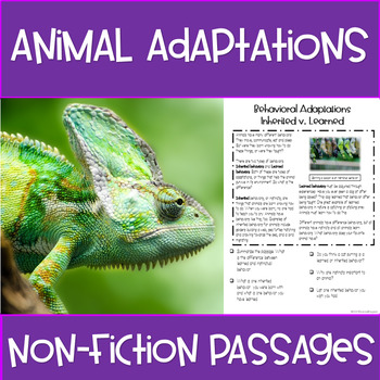 Animal Adaptations Non Fiction Passages Close Read