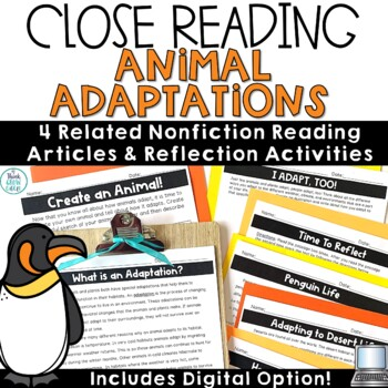 Reading Comprehension Passages and Questions Animal Adaptations Close Reading