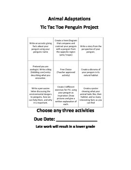 Animal Adaptations Penguin Choice Board