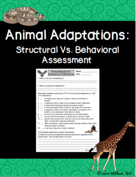 Animal Adaptations : Physical Vs. Behavioral Assessment and Sort