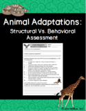 Animal Adaptations : Structural Vs. Behavioral Assessment and Sort