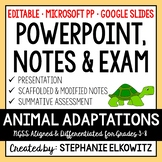 Animal Adaptations PowerPoint, Notes & Exam