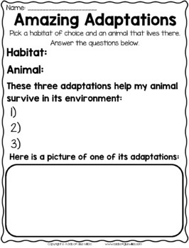 animal adaptations powerpoint posters worksheets and more tpt. Black Bedroom Furniture Sets. Home Design Ideas