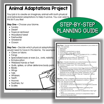 Animal Adaptations/Habitats Activity & Project (Integrates Writing & Art)