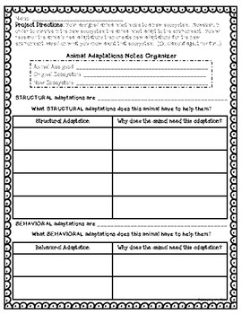 Animal Adaptations Project: A Science & Writing Project