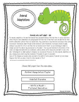 Animal Adaptations Project Menu