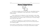 Animal Adaptations Reading Comprehension