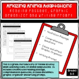 Animal Adaptations Reading Passage, Graphic Organizer and Questions