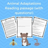 Animal Adaptations Reading Passage w/ Questions