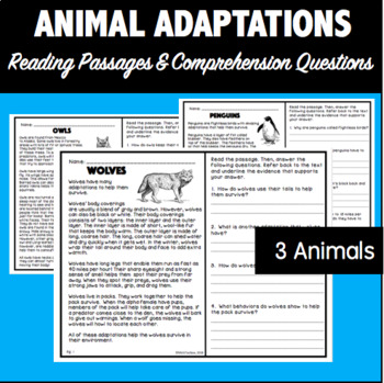 Animal Adaptations: Reading Passages and Comprehension Questions
