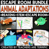 Animal Adaptations Reading and Escape Room Bundle