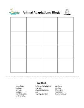 Animal Adaptations Science Vocabulary Bingo Game Printable