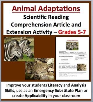 Animal Adaptations - Scientific Reading Comprehension Article – Grades 5-7