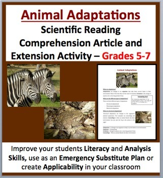 Animal Adaptations - Scientific Reading Comprehension Art