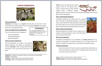 Animal Adaptations - Science Reading Article – Grades 5-7