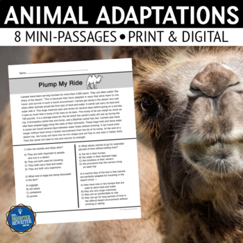 Animal Adaptations Short Reading Passages