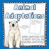 Animal Adaptations Sort