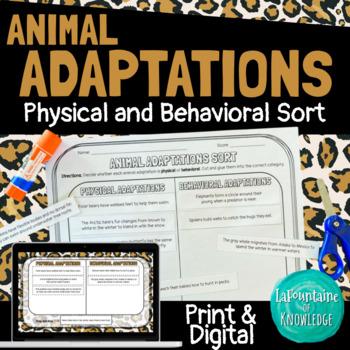 Animal Adaptations Sort Activity - 4th Grade Science