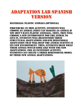 Animal Adaptations Spanish Version