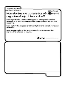 Animal Adaptations Tab Booklet (Ohio LS 3.2)