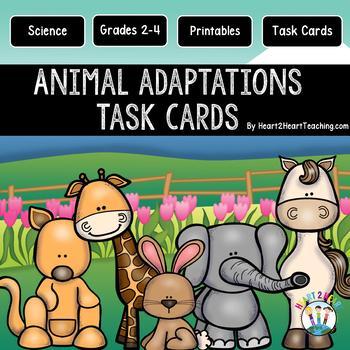Animal Adaptations Task Cards {Set of 48 Cards & 16 Vocabu