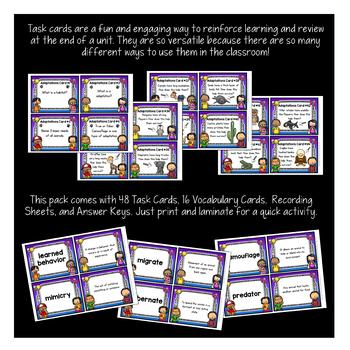 Animal Adaptations Task Cards {Set of 48 Cards & 16 Vocabulary Cards}