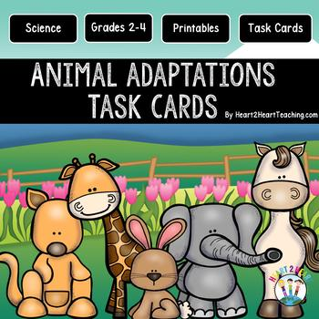 Animal Adaptations Task Cards {Set of 48 Cards & 16 Vocabu