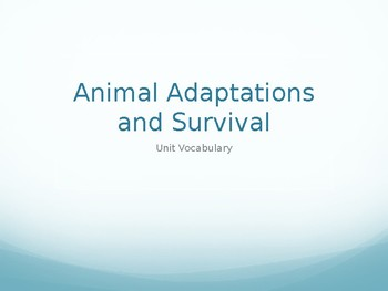 Animal Adaptations Vocabulary