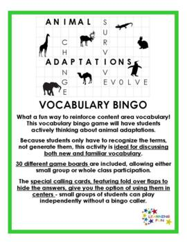 Animal Adaptations Vocabulary Bingo