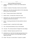 Rocks and Minerals Vocabulary Words and Quiz with Answer Key