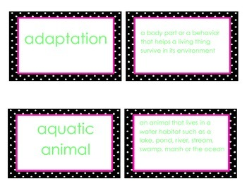 Animal Adaptations Vocabulary Flash Cards