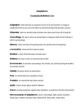 Animal Adaptations Vocabulary List