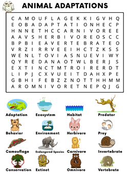 Animal Adaptations Word Search Activity