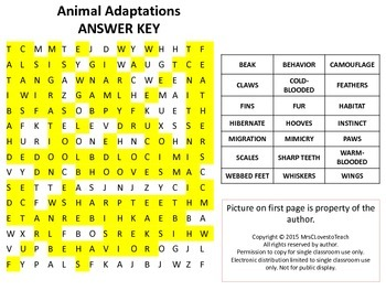 Animal Adaptations Word Search w/ answer key