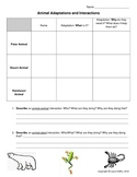 Animal Adaptations and Interactions- 3rd, 4th, 5th, 6th