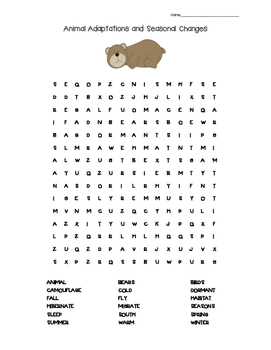Animal Adaptations and Seasonal Changes Word Search