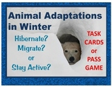 Animal Adaptations in Winter task cards, pass game: Hibernate? Migrate? Active?