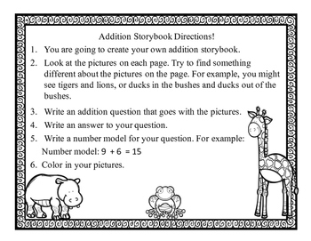 Addition Word Problem Practice {Animal Addition Storybook}