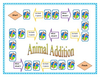 Animal Addition game board