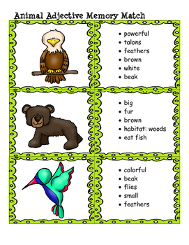 Animal Adjective Memory Match:  Great for Daily 5/Literacy Centers