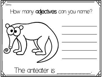 Animal Adjectives- No Prep!!